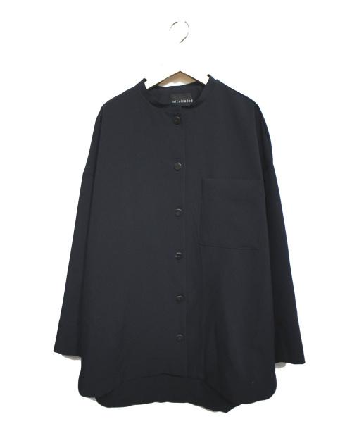 mizuiro-ind(ミズイロインド)mizuiro-ind (ミズイロインド) バンドカラーシャツジャケット ネイビー サイズ:表記無しの古着・服飾アイテム