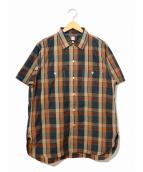KAPTAIN SUNSHINE(キャプテン サンシャイン)の古着「S/Sチェックシャツ/Work Shirt」|ブラウン