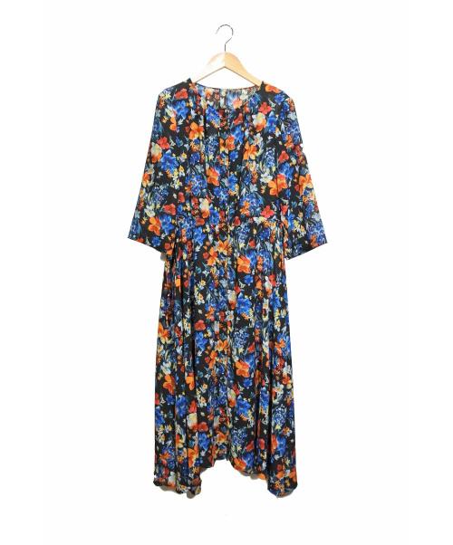 R-ISM(リズム)R-ISM (リズム) フラワープリントワンピース ブルー サイズ:4の古着・服飾アイテム