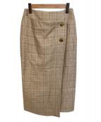 BALLSEY(ボールジィ)の古着「リネンシルクチェックミディIラインスカート」|ベージュ