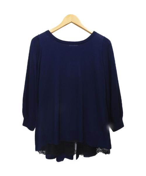 LANVIN en Bleu(ランバンオンブルー)LANVIN en Bleu (ランバンオンブル) バックレースニット ネイビー サイズ:38 未使用品の古着・服飾アイテム