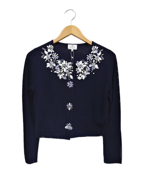 LANVIN en Bleu(ランバンオンブルー)LANVIN en Bleu (ランバンオンブル) ビジューカーディガン ネイビー サイズ:38 未使用品の古着・服飾アイテム