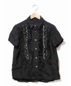 tricot COMME des GARCONS(トリコ コムデギャルソン)の古着「キュプラフリルデザインシャツ」 ブラック