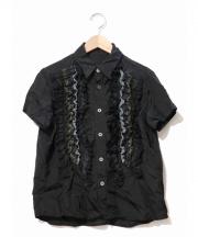 tricot COMME des GARCONS(トリコ コムデギャルソン)の古着「キュプラフリルデザインシャツ」|ブラック