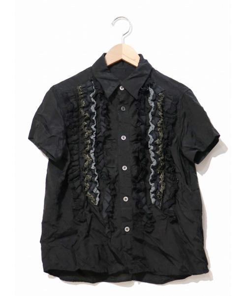 tricot COMME des GARCONS(トリココムデギャルソン)tricot COMME des GARCONS (トリコ コムデギャルソン) キュプラフリルデザインシャツ ブラック サイズ:M TO-B048/AD2004の古着・服飾アイテム