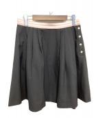 MIU MIU(ミュウミュウ)の古着「スターボタンウエストリブスカート」|ブラック