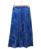 UNITED ARROWS TOKYO(ユナイティッドアローズトウキョウ)の古着「バンダナプリーツスカート」|ブルー