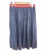 MIU MIU(ミュウミュウ)の古着「ウエストロゴシルクスカート」|ネイビー