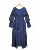 UN3D.(アンスリード)の古着「シアーレイヤードプリントワンピース」|ブルー