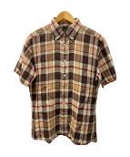 ()の古着「半袖リネンシャツ」 ベージュ×ブラウン