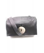 kawa-kawa(カワカワ)の古着「buttonレザーショルダーバッグ」|ブラック