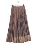 JILL STUART(ジルスチュアート)の古着「ユリアコンビプリーツスカート」|ブラウン