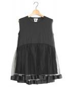 DOUBLE STANDARD CLOTHING(ダブルスタンダードクロージング)の古着「チュール使いカットソー」|ブラック