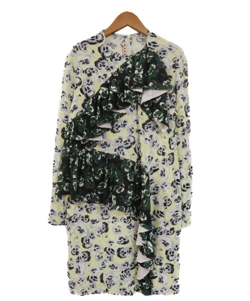 MARNI(マルニ)MARNI (マルニ) フラワーフリルブラウスワンピース イエロー×ブラック サイズ:M M001K5 M00FCの古着・服飾アイテム