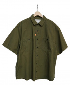 POLeR(ポーラー)の古着「WASHED S/S BUTTON DOWN SHIRT」 オリーブ