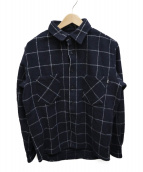 RUTSUBO(ルツボ)の古着「WINDOWPANE CHECK SHIRTS」|ネイビー