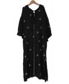 KIIRA(キーラ)の古着「エンブロイダリーカフタンワンピース」|ブラック