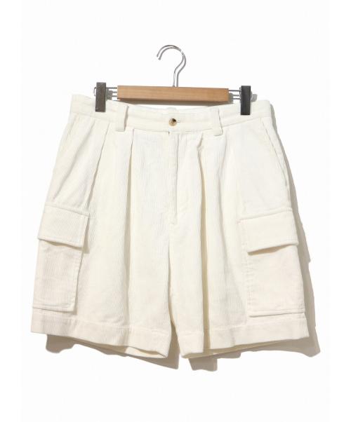 H BEAUTY&YOUTH(エイチビューティアンドユース)H BEAUTY&YOUTH (エイチ ビューティアンドユース) CORDUROY CARGO SHORT PANTS ホワイト サイズ:LARGEの古着・服飾アイテム