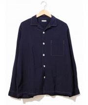COMME des GARCONS HOMME(コムデギャルソンオム)の古着「ウールステッチシャツ」|ネイビー