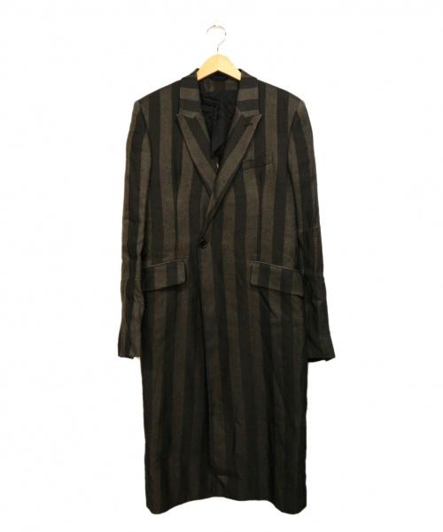 ANN DEMEULEMEESTER(アンドゥムルメステール)ANN DEMEULEMEESTER (アンドゥムルメステール) チェスターコート ブラック×グレー サイズ:Mの古着・服飾アイテム