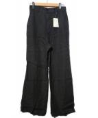 Whim Gazette(ウィムガゼット)の古着「20SS 製品染めリネンフレアパンツ」|ブラック