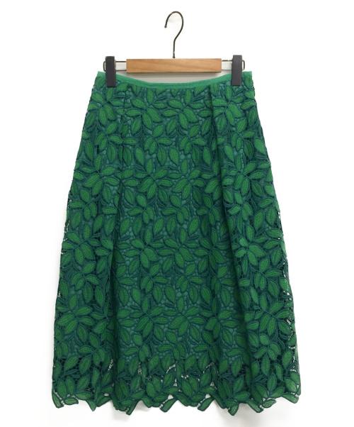 M・Fil(エムフィル)M・fil (エムフィル) リーフレーススカート グリーン サイズ:38の古着・服飾アイテム