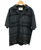 ()の古着「エンブロイダリーオープンカラーシャツ」|ブラック
