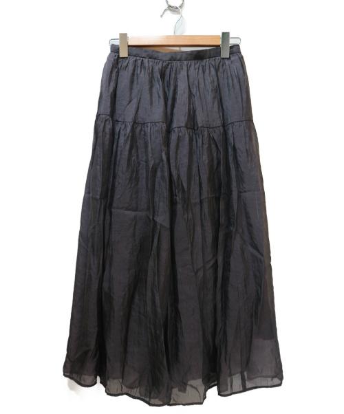 BALLSEY(ボールジィー)BALLSEY (ボールジィ) シルクナイロンオーガンジー ギャザーティアードスカ グレー サイズ:34の古着・服飾アイテム