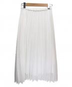 QUEENS COURT(クイーンズコート)の古着「スクエアシアーチェックロングプリーツスカート」 ホワイト