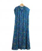ROSE BUD(ローズバッド)の古着「2WAYフラワープリントマキシワンピース」 ブルー