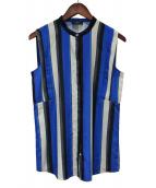 Paul Smith BLACK(ポールスミスブラック)の古着「テクスチャーストライプブラウス」|ブルー
