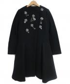 CHESTY(チェスティー)の古着「ビジューノーカラーコート」 ブラック