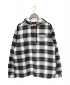 Supreme(シュプリーム)の古着「19AWQuilted Hooded Plaid Shirt」|グレー×ブラック