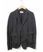 robe de chambre COMME des GARCONS(ローブドシャンブルコムデギャルソン)の古着「[OLD]縮絨ウールフリルジャケット」|グレー