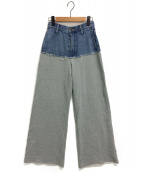 AMERI(アメリ)の古着「DENIM SWEAT DOCKING WIDE PANTS」