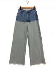 AMERI(アメリ)の古着「DENIM SWEAT DOCKING WIDE PANTS」