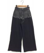 AMERI(アメリ)の古着「DENIM SWEAT DOCKING WIDE PANTS」|ブラック