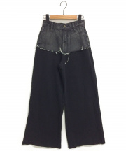 AMERI(アメリ)の古着「DENIM SWEAT DOCKING WIDE PANTS」|ブラック