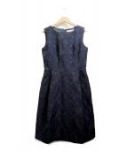 M-premierBLACK(エルプルミエラブラック)の古着「フラワージャガードドレス」|ネイビー
