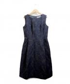 M-premierBLACK(エルプルミエラブラック)の古着「フラワージャガードドレス」 ネイビー