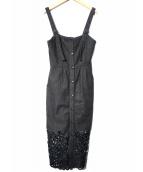 Ameri VINTAGE(アメリビンテージ)の古着「CUT WORK INDIGO DRESS ワンピース」|ブラック