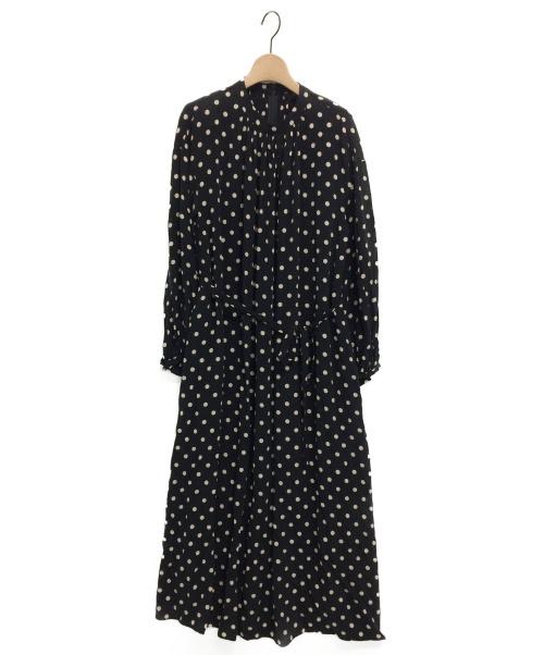 SACRA(サクラ)SACRA (サクラ) タンドカラー ギャザーネックドットロングワンピース ブラック サイズ:F 未使用品の古着・服飾アイテム