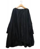mizuiro-ind(ミズイロインド)の古着「ビッグシルエットコットンブラウス」|ブラック