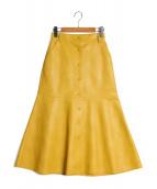 LE CIEL BLEU(ルシェルブルー)の古着「フェイクレザースカート」|イエロー