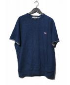 MAISON KITSUNE(メゾンキツネ)の古着「フォックスパッチ カットオフラグランS/Sスウェット」|インディゴ