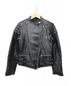 NINE(ナイン)の古着「モンザタイプラムレザーライダースジャケット」 ブラック