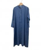 fog linen work()の古着「バンドカラーシャツワンピース」|ブルー