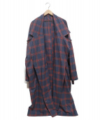 My Beautiful Landlet(マイ ビューティフル ランドレット)の古着「brushed tartan wide long coat」|ネイビー×レッド