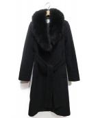 Pinky & Dianne(ピンキーアンドダイアン)の古着「ファー付アンゴラウールコート」|ブラック