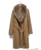 Pinky & Dianne(ピンキーアンドダイアン)の古着「ファー付アンゴラウールコート」|キャメル